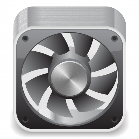 cooler: Icon for computer cooler. White background, file contains objects with transparency.