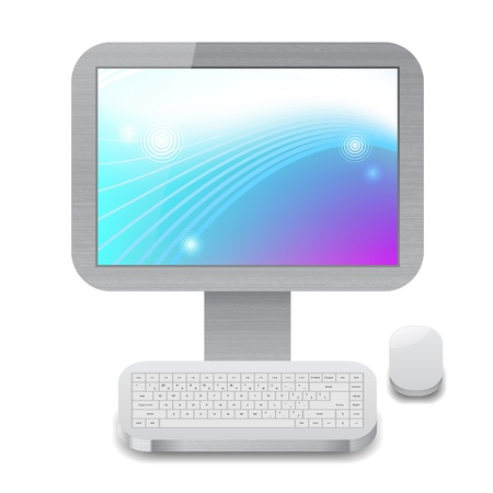 Icon for personal computer with blue and purple wallpaper on display. White background, file contains objects with transparency. Vector