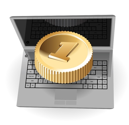 it business: Laptop with coin, web and IT business concept.