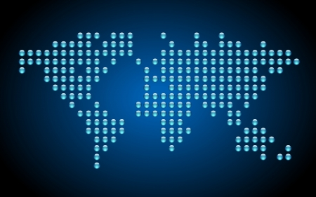 dotted world map: Dotted world map on blue background. Illustration