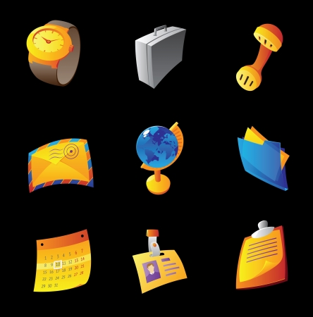 Icons for business, black background Stock Vector - 15584914