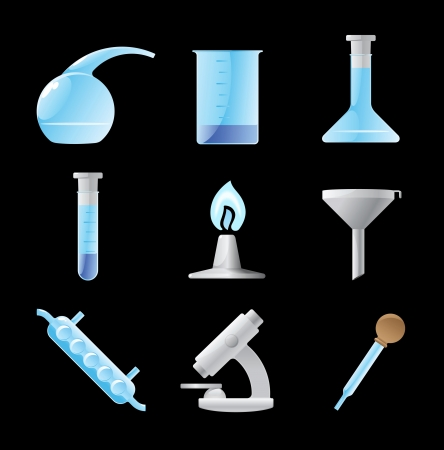 retort: Icons for chemical lab.