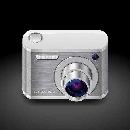 Icon for compact camera. Dark background.