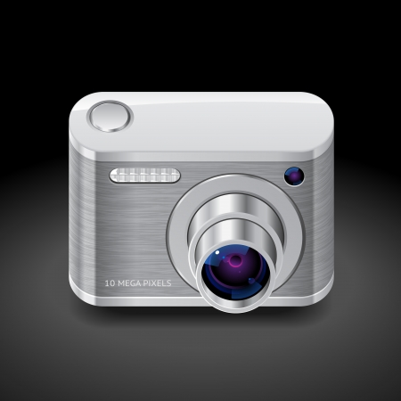 Icon for compact camera. Dark background.   Vector