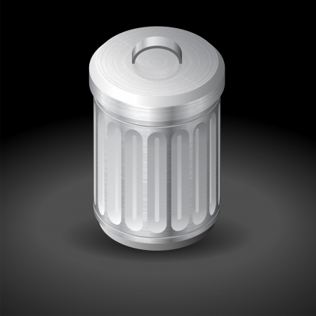Icon for garbage can. Dark background. Vector