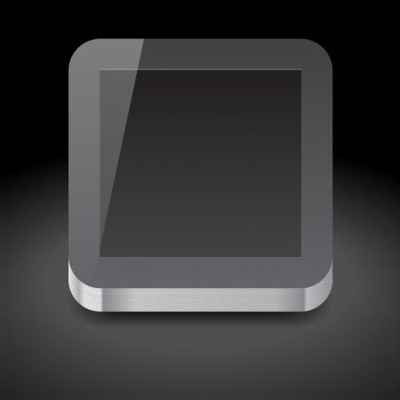 Icon for tablet computer with black display. Dark background. Stock Vector - 15585074