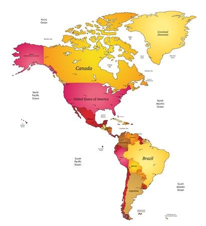 Kaart van Noord-en Latijns-Amerika. Vector Illustratie