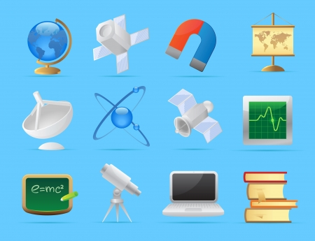 knowledge clipart: Icons for science and education.
