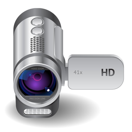 hd video: Icon for camcorder. White background.  file contains objects with transparency.
