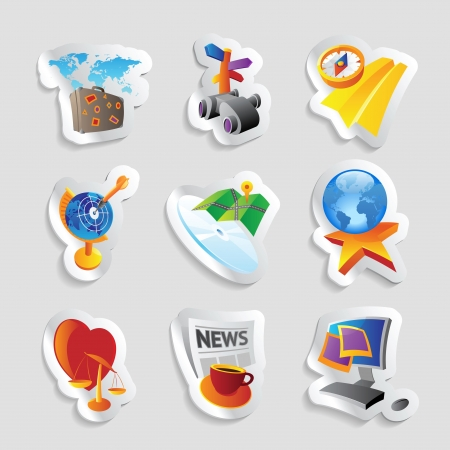 Icons for leisure, travel, sport and arts.  Vector