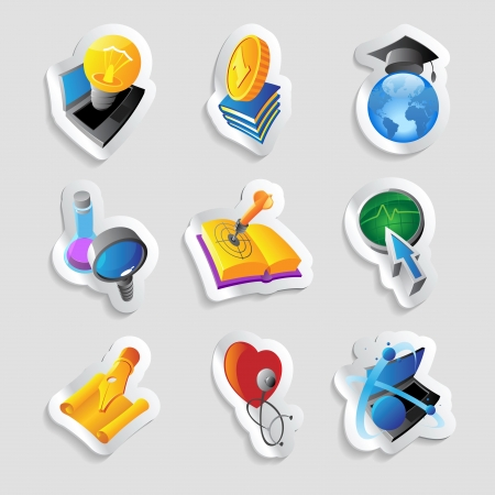 Icons for science, education and medicine.