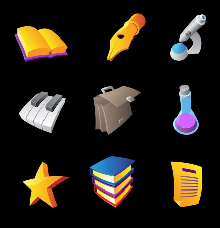 Icons for education and science, black background Vector