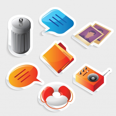 Sticker icon set for computer programs and website interface Stock Vector - 15710917