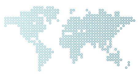 Blue dotted world map Vector