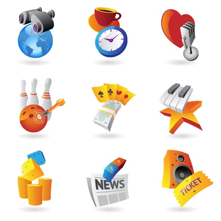 Icons for leisure, travel, sport and arts Stock Vector - 15800165