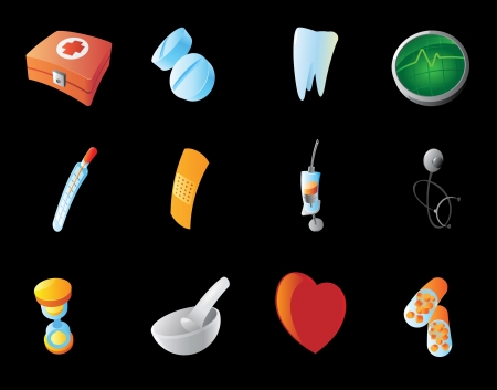 Icons for medicine  Black background Stock Vector - 15800151