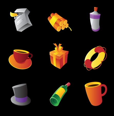 lighter: Miscellaneous icons on black background