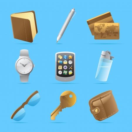 belongings: Icons for personal belongings
