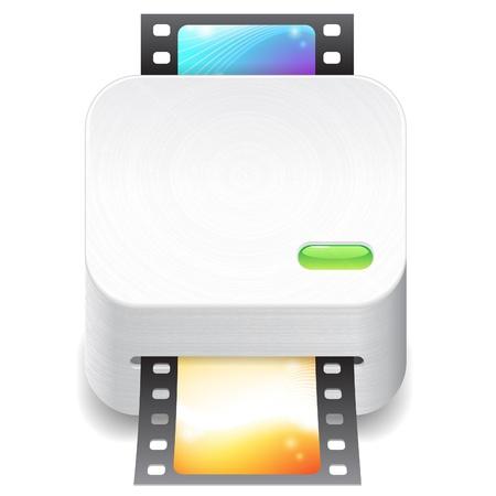 scanner: Icon for film scanner. White background.