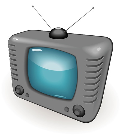 old tv: TV with antenna Illustration