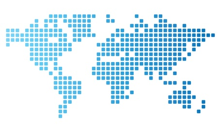 Dotted world map made of rounded rectangles