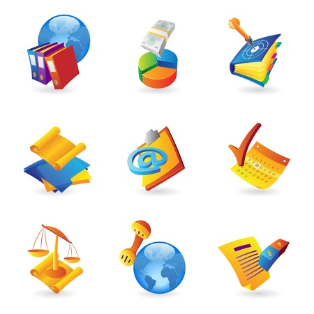 scroll of the law: Icons for business and finance  Vector illustration  Illustration