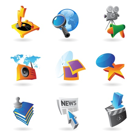 Icons for media, information and entertainment   Vector illustration Stock Vector - 15858475