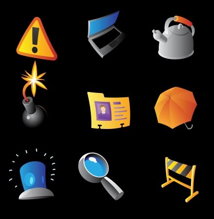 Icons for interface, black background  Vector illustration  Vector