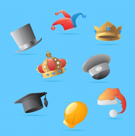 hard cover: Icons for various hats. Vector illustration. Illustration