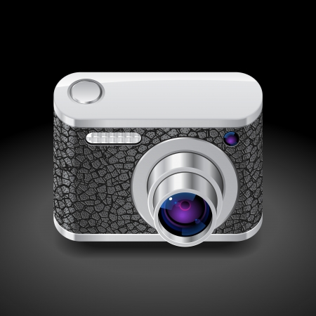 Icon for compact camera decorated with leather. Dark background. Vector saved as eps-10, file contains objects with transparency. Vector