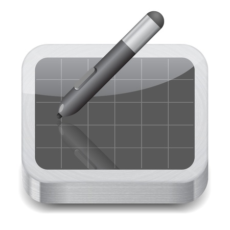 pen tablet: Icon for pen tablet. White background. Vector saved as eps-10, file contains objects with transparency. Illustration
