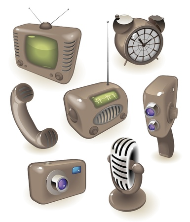 Brown icons of retro devices: media, time and communications. Vector illustration. Stock Vector - 15858489