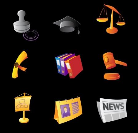 Icons for business, black background   illustration