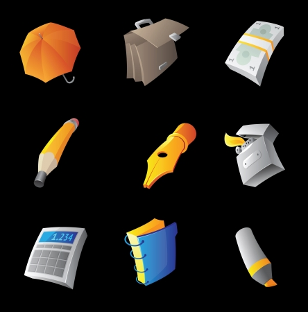 Icons for personal belongings, black background   illustration  Vector