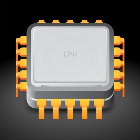 Icon for microprocessor. Dark background.