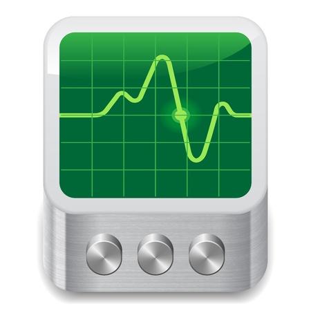 sistema operativo: Icono del osciloscopio. Fondo blanco.