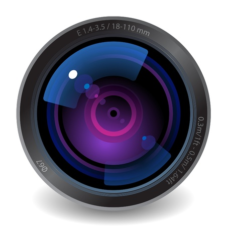 objetivo: Icono del lente de la cámara. Fondo blanco.