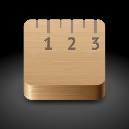 Icon for wooden ruler. Dark background. Stock Vector - 17970301