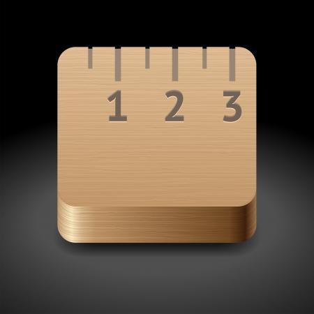 Icon for wooden ruler. Dark background.  Stock Vector - 17970301