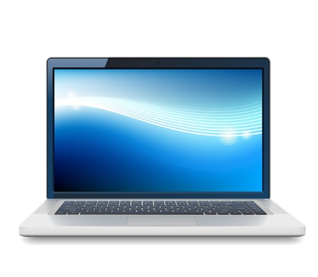 pc monitor: High detailed  laptop with abstract colorful background on screen. Illustration