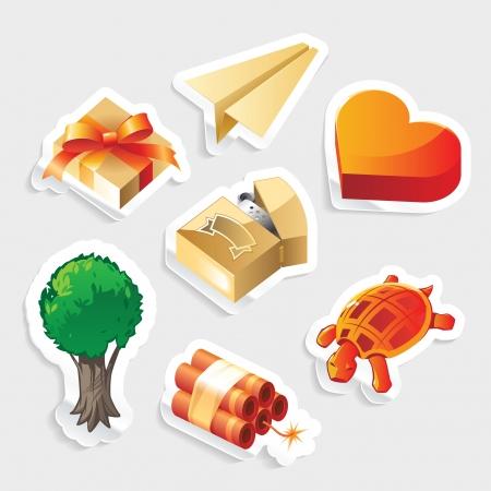 love dynamite: Sticker icon set for miscellaneous symbols.   illustration. Illustration