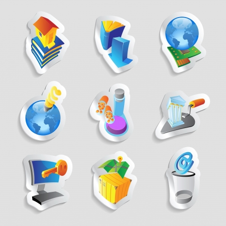 Icons for industry, energy and ecology.  illustration. Vector