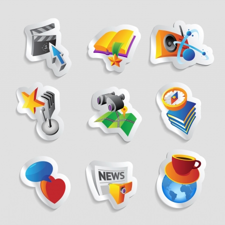 Icons for leisure, travel, sport and arts.  illustration. Vector