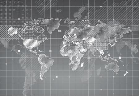 Mapa del mundo con los países con textura. ilustración.
