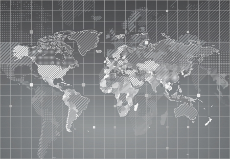 grayscale: World map with textured countries.  illustration.
