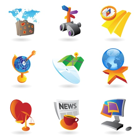 Icons for leisure, travel, sport and arts  Vector illustration  Vector