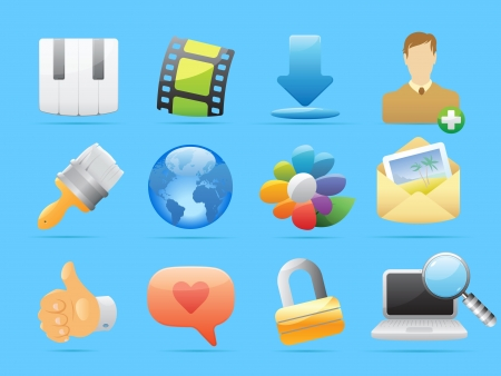 lens brush: Icons for computer and website interface  Vector illustration