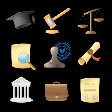 gold seal: Icons for law. Vector illustration.
