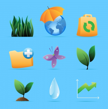 Icons for nature, energy and ecology. Vector illustration. Vector