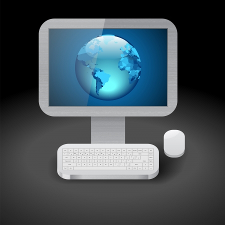 Icon for personal computer with blue Earth on display. Dark background. Vector saved as eps-10, file contains objects with transparency. Vector